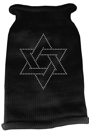 Star of David Rhinestone Knit Pet Sweater XXL Black